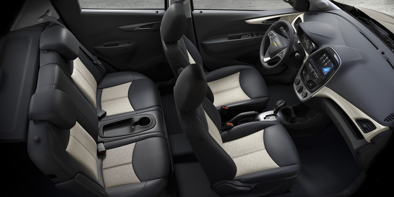 2017 Chevy Spark Interior with Jet Black/White Leatherette Seats