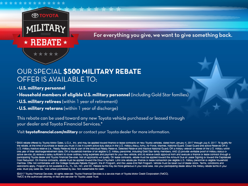 military rebate program piercey toyota. Black Bedroom Furniture Sets. Home Design Ideas