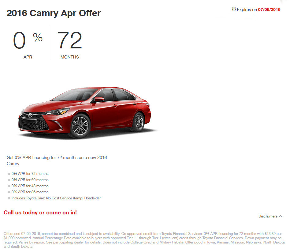 new 2016 toyota camry 0 apr for 72 months coad toyota. Black Bedroom Furniture Sets. Home Design Ideas