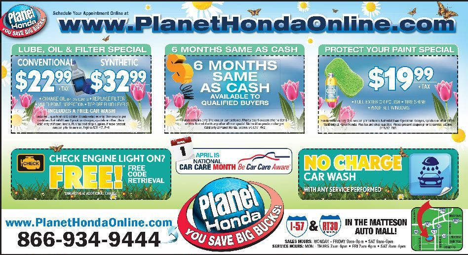Planet Honda Matteson >> Service Department Coupons, Specials - Planet Honda